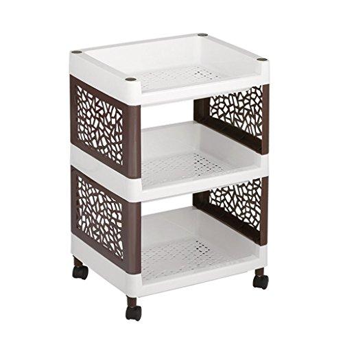 LANGRIA 収納ラック キッチンワゴン ラック 棚 3段 おしゃれ キッチン収納 プラスチックシェルフ 大容量 キャスター付き プラスチック製 組立簡単 幅36×高さ77.5×奥行30cm