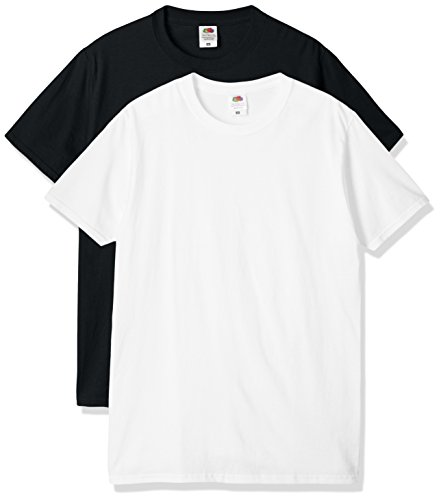 (フルーツオブザルーム)FRUIT OF THE LOOM スタンダードクルーパックTシャツ J3930-2P ブラック×ホワイト S