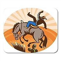 マウスパッド砂漠で馬から落ちるカウボーイのアメリカンブロンコレトロな木版画スタイルロデオバッキングマウスマットマウスパッドノートブックデスクトップコンピューターに適したマウスパッド