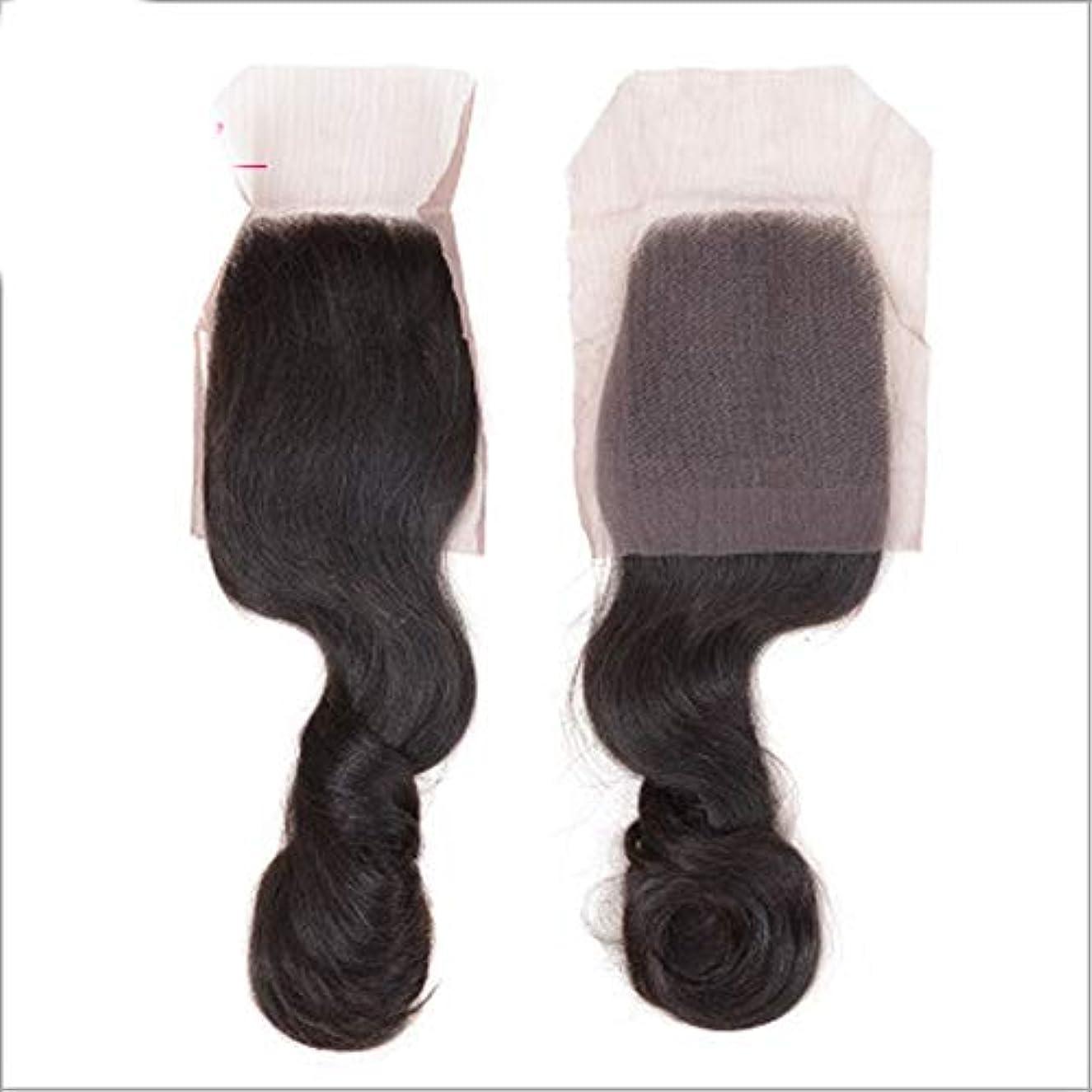 嫌いすでに弁護士HOHYLLYA 巻き毛の束と閉鎖レース前頭4x4ブラジルルースウェーブ髪100%人毛織りエクステンションナチュラルブラックコンポジットヘアレースかつらロールプレイングかつら (色 : 黒, サイズ : 12 inch)