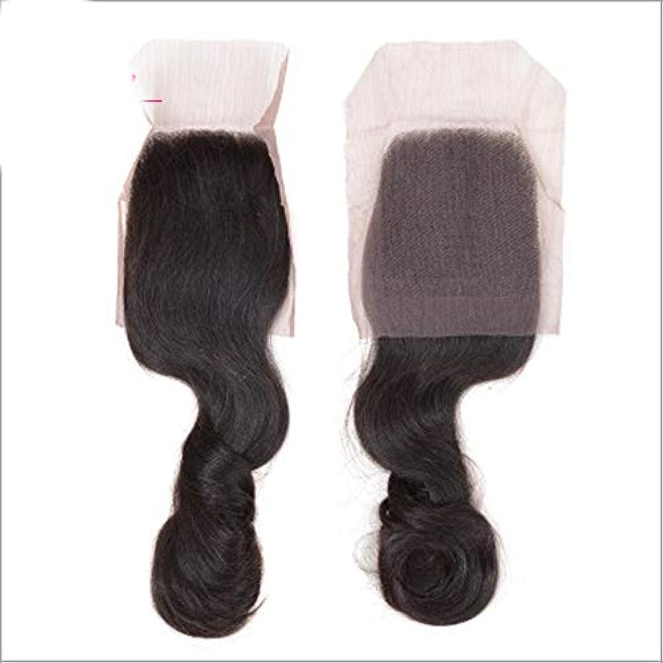させる心理的力強いHOHYLLYA 巻き毛の束と閉鎖レース前頭4x4ブラジルルースウェーブ髪100%人毛織りエクステンションナチュラルブラックコンポジットヘアレースかつらロールプレイングかつら (色 : 黒, サイズ : 12 inch)