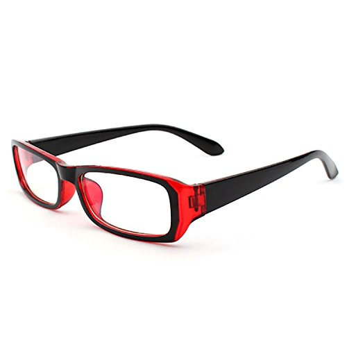 [FREESE] 伊達メガネ ブルーライトカット メガネ おしゃれ ファッション伊達眼鏡 黒縁 スクエア クロス&メガネケース(Clear Red)