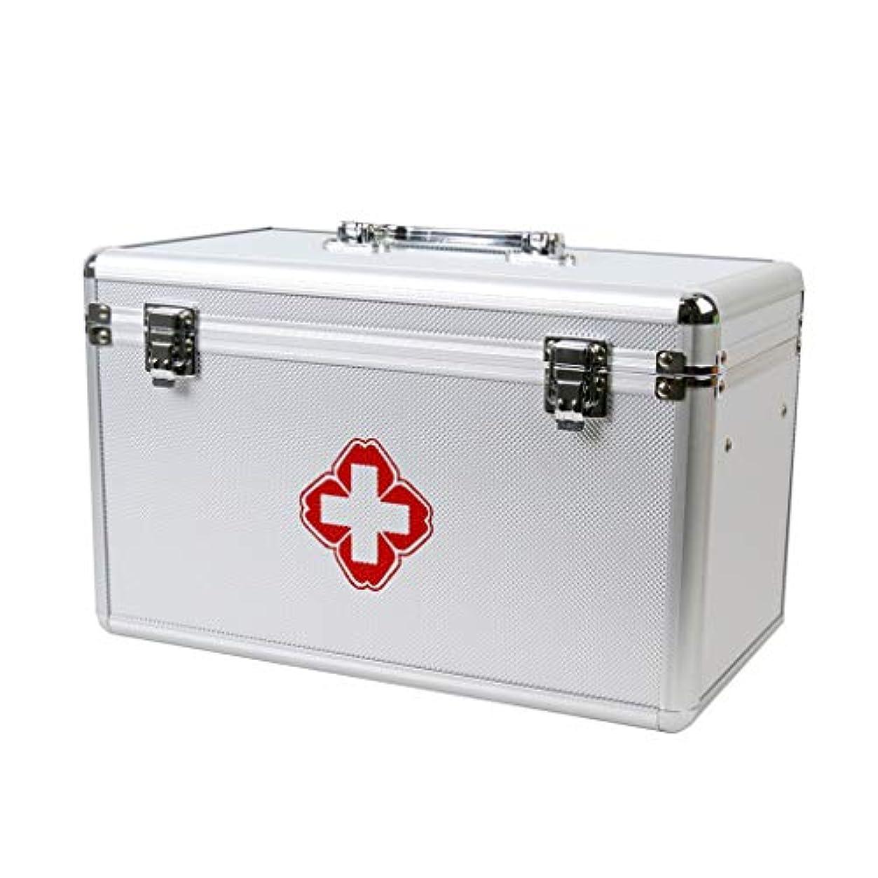 希望に満ちた手当豚ロック可能な薬箱オーガナイザーコンパートメント付き金属薬ロックボックスチャイルドプルーフ処方収納ボックス-ポータブルハンドル/ショルダーストラップ