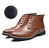 メンズブーツブローグアンクルブーツローマンスタイルの冬のブーツ手作りのオックスフォード (色 : 褐色, サイズ : 43 EU)
