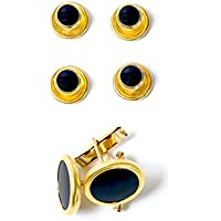 2 Cufflinks 4 Black Studs with Gold Trimming for Tuxedo Shirts By Broadway Tuxmakers