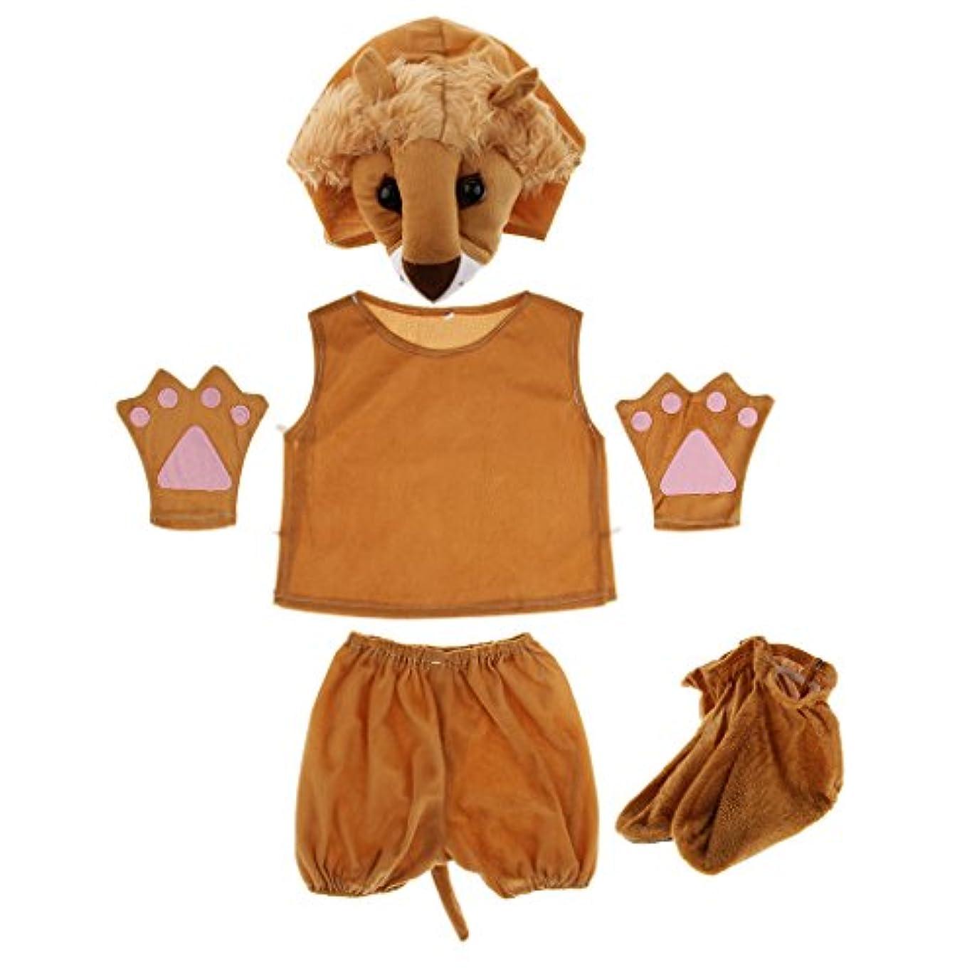 いろいろ焼く編集するFlameer 動物模様 コスプレ衣装 子供 キッズ 帽子 手袋 靴 シャツ ショートパンツ 想像力を刺激 舞台 ハロウィーン      - ライオン
