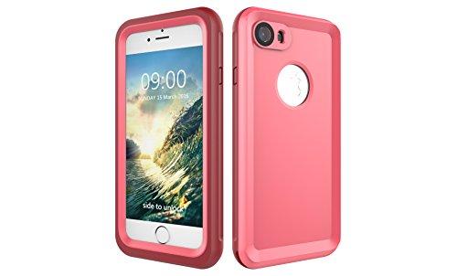 Iphone 7 防水電話ケースは、HBER IP68完全密閉水泳ダイビング水中防塵耐雪性の耐震ヘビーデューティケースカバーは、iphone7のために敏感な画面タッチ指紋認証ロック解除をサポートしています (ピンク)