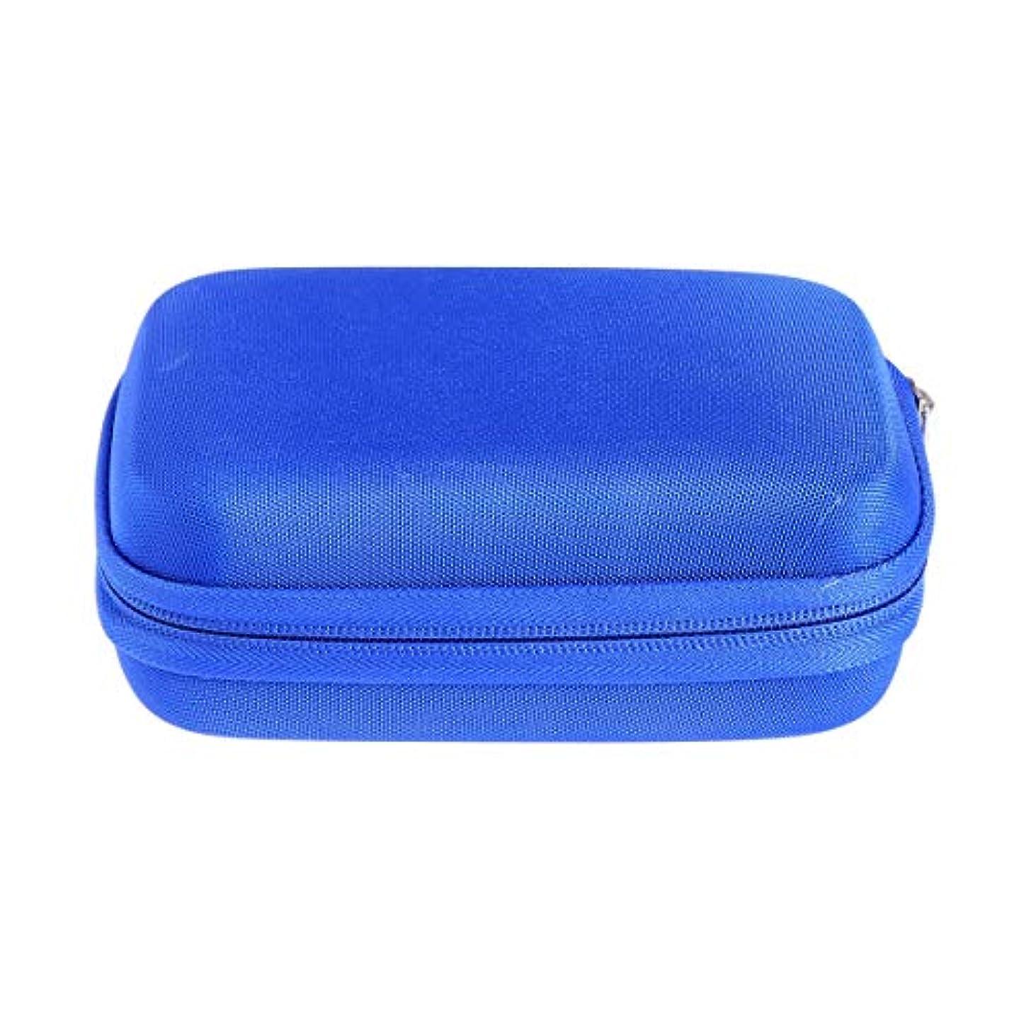 オーバーコート可愛いアークSUPVOX エッセンシャルオイルバッグキャリングケースオーガナイザーローラーボトル収納袋10スロットハードシェルオイルケースホルダー(ブルー)