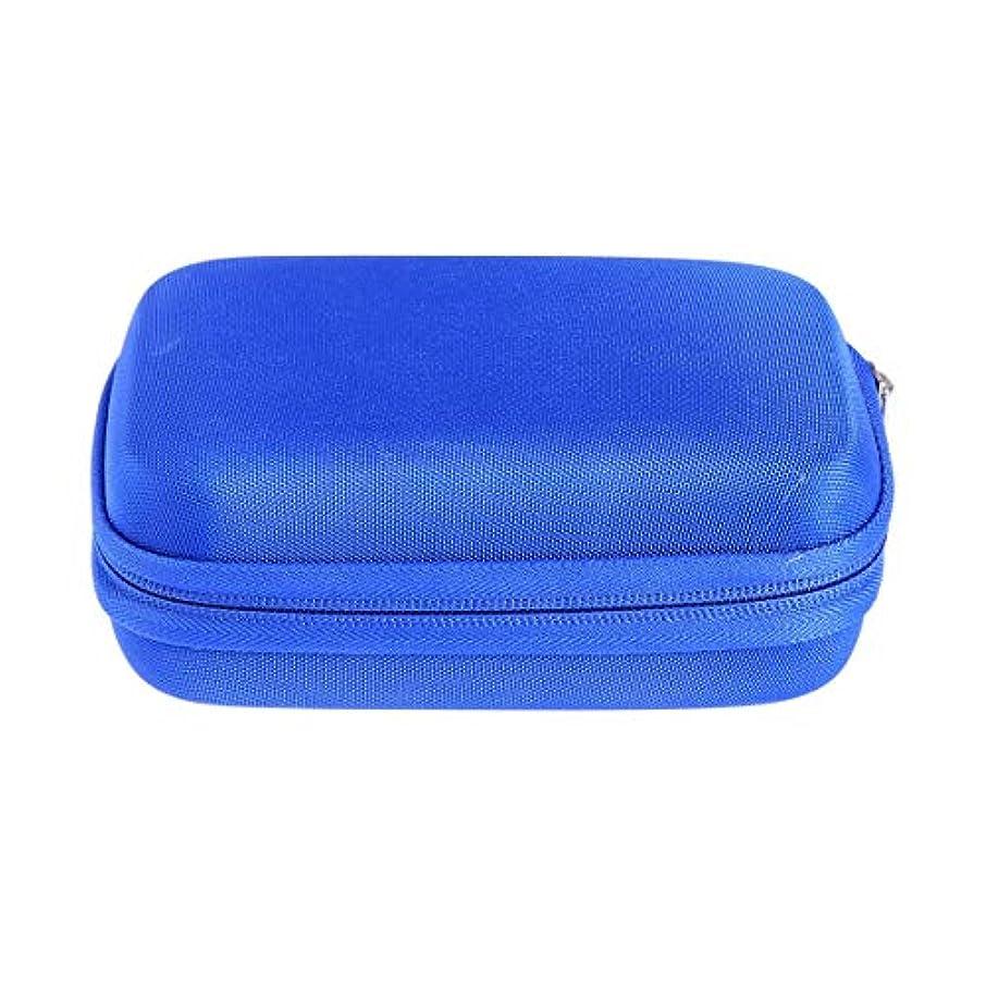 生息地強制的どこかSUPVOX エッセンシャルオイルバッグキャリングケースオーガナイザーローラーボトル収納袋10スロットハードシェルオイルケースホルダー(ブルー)