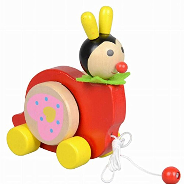 素敵な木製プッシュ&玩具はプル一緒にワゴン車赤プル