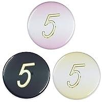 数字缶バッジ-Excellent- 【5】 大きいサイズ(57mm) ピンク ミラー(鏡)タイプ