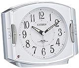 シチズン 目覚まし時計 電波 アナログ ネムリーナR411 暗所 ライト 自動 点灯 電子音 ・ ベル音 切換機能 銀色 CITIZEN 4RK411-019