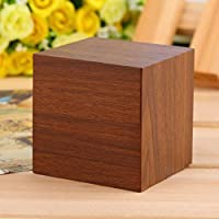 Modern Wooden Wood Square LED Alarm Clock Desktop Digital Thermometer Wood USB/AAA Thermometer Date Display Touch Enabled