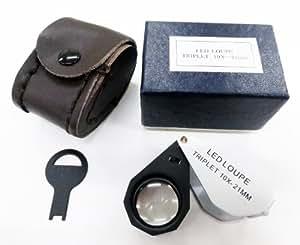 虫眼鏡 LEDライト付き 宝石鑑定用ルーペ W-LED10 10倍 21mm アクセサリー