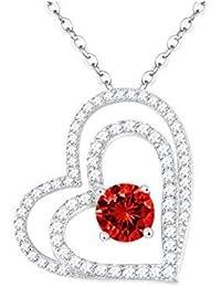 Dorella[ドレラー] 言いたい話 ペンダントジュエリー 925純銀製  赤い宝石 ハート ダブルハート 1月誕生石 ガーネット  プレゼント ギフト 女性 バレンタイン ホワイトデー 誕生日 記念日 パーティー用 BOX付き スワロフスキー エレメンツ