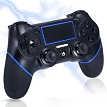 ps4 コントローラー ワイヤレス 砂のような感触の表面 ps4ゲームパッド ゲームコントローラ Blue 無線 DUALSHOCK 4 USB 接続 (PS4 PS3 PC 振動機能 対応) バージョン5.55対応