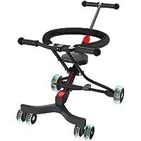 ALLEK 最新モデル ハンディーキッズスクーター 6輪 ベビーカー 子供 赤ちゃん ベビーバギー 持ち運び ブレーキ付き 光るホイール 高さ調整可能 折りたたみ 軽量 便利 旅行 シンプル 1.5歳から B型