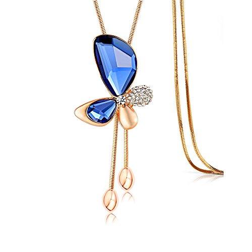 [해외]Merdia 긴 목걸이 나비 펜던트 패션 와일드 크리스탈 블루 목걸이 스웨터 체인 90CM/Merdia Long Necklace Butterfly Pendant Fashion Wild Crystal Blue Necklace Women`s Sweater Chain 90CM
