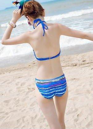 『ladyswim-2007 レディース ワンピース 水着 3点セット セパレート リボン 海水浴 プール 海外旅行 バカンス フィットネス 水泳 温泉 プール カラフル 水着/みずぎ/ミズギ (L, ブルー)』の3枚目の画像