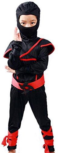 (Bidasu)【改良版】7点セット 憧れの忍者になれる ハロウィン コスプレ 忍者 キッズ 子供用 仮装 パーティー 男女兼用 W1 (M, 忍者(赤))
