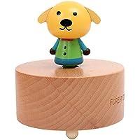 子供の教育用おもちゃ 子供の木製クリエイティブ漫画かわいい動物のオルゴール(黄色い犬)