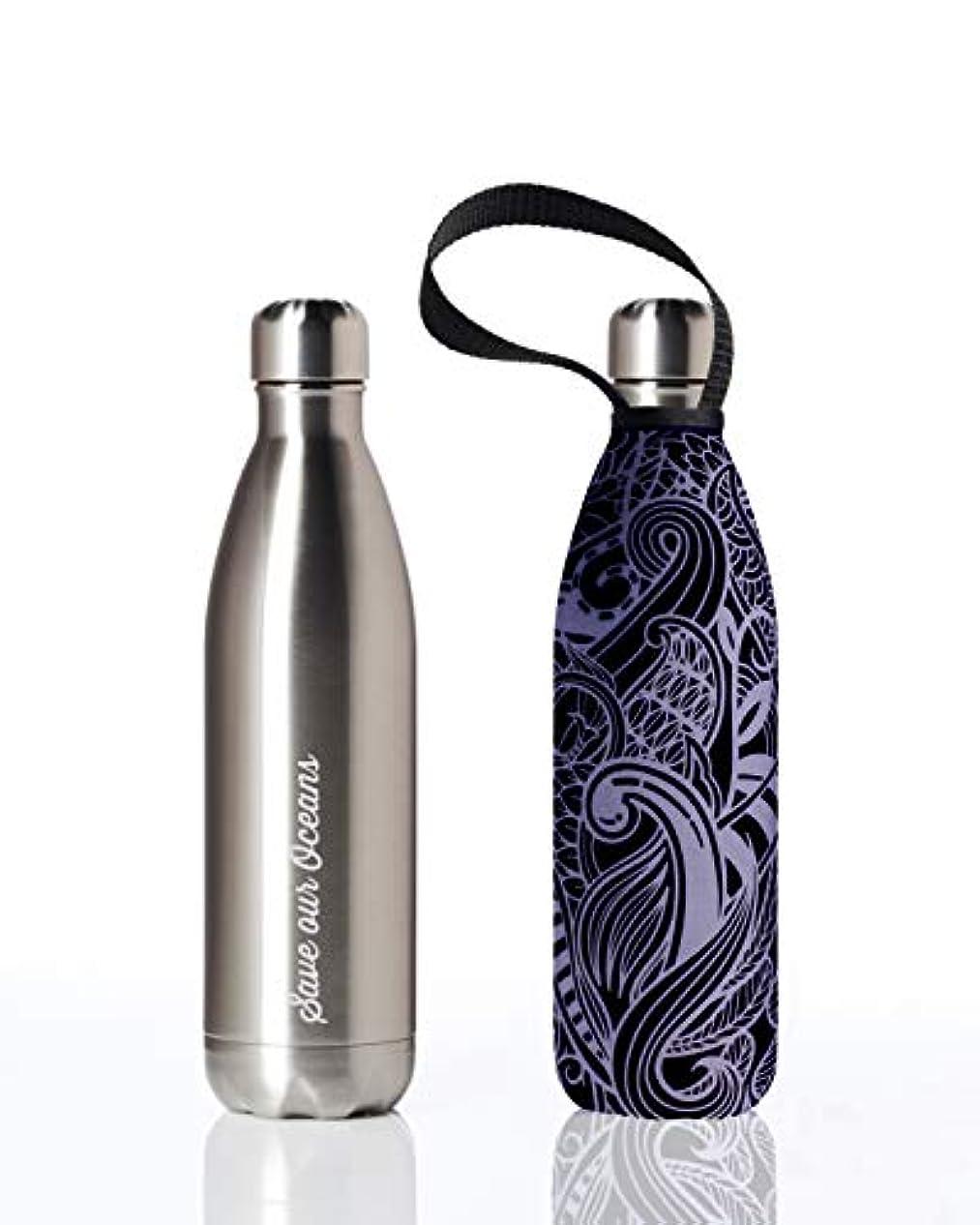 深める通知する触手bbbyo* Future Bottle 750ml SILVER+NIGHTKORU 保温 保冷 水筒 ステンレスボトル シルバー+ネイティブ柄 ※カバー付き FTRCC-NTKORU
