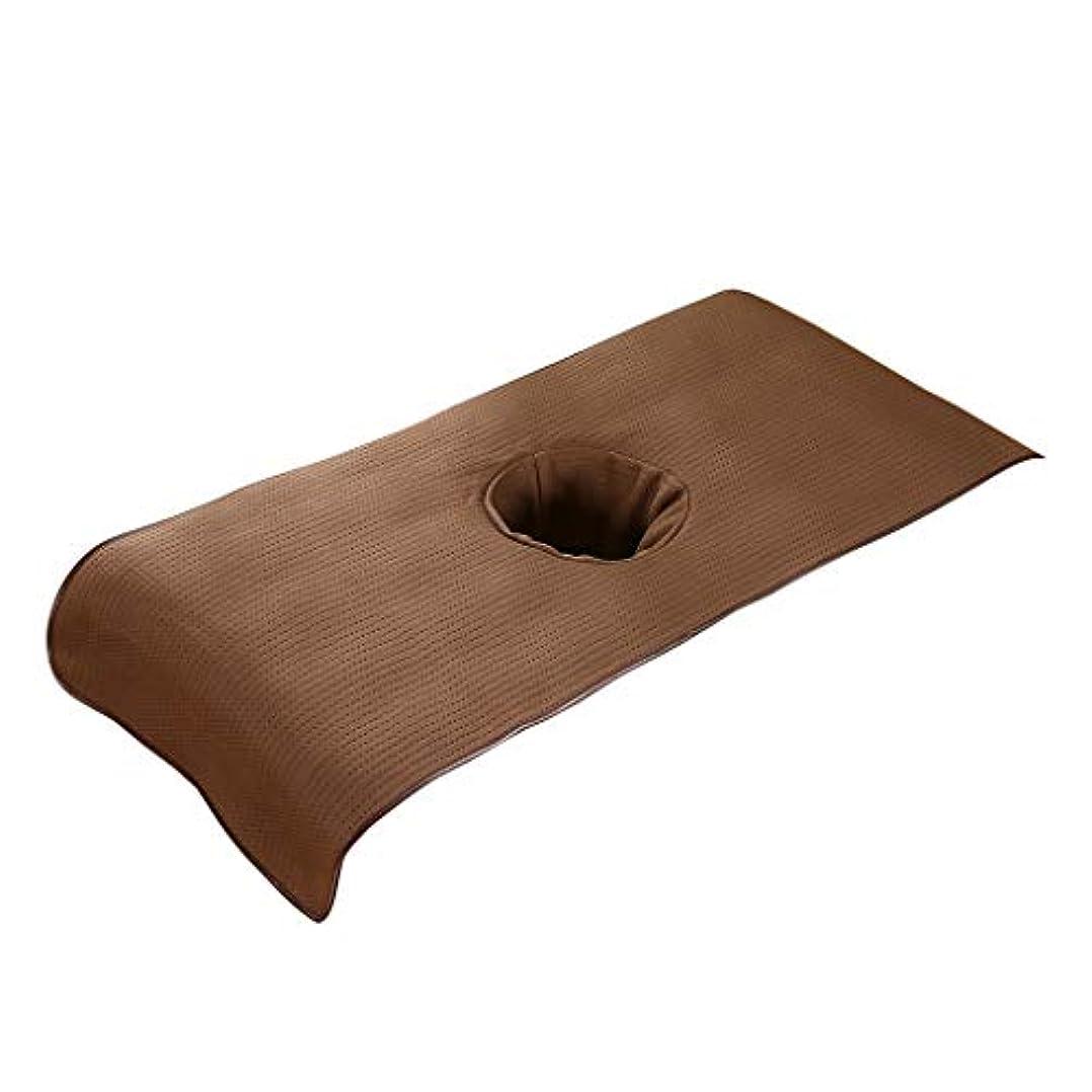 知る考慮フェザースパ マッサージベッドカバー 有孔 美容ベッドカバー マッサージテーブルスカート 快適 通気性 - 褐色