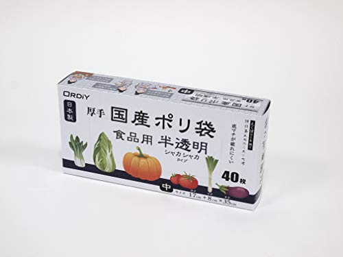 オルディ 厚手国産ポリ袋 食品用 中 半透明(40枚入)