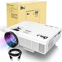 LED プロジェクター 小型紀ルーメン 1080PフルHD対応 800*480解像度 HDMIケーブル付属 台形補正 パソコン/スマホ/タブレット/ゲーム機など接続可能 USB/マイクロSD/HDMI/AV/VGAサポート 標準的なカメラ三脚に対応 3年保証