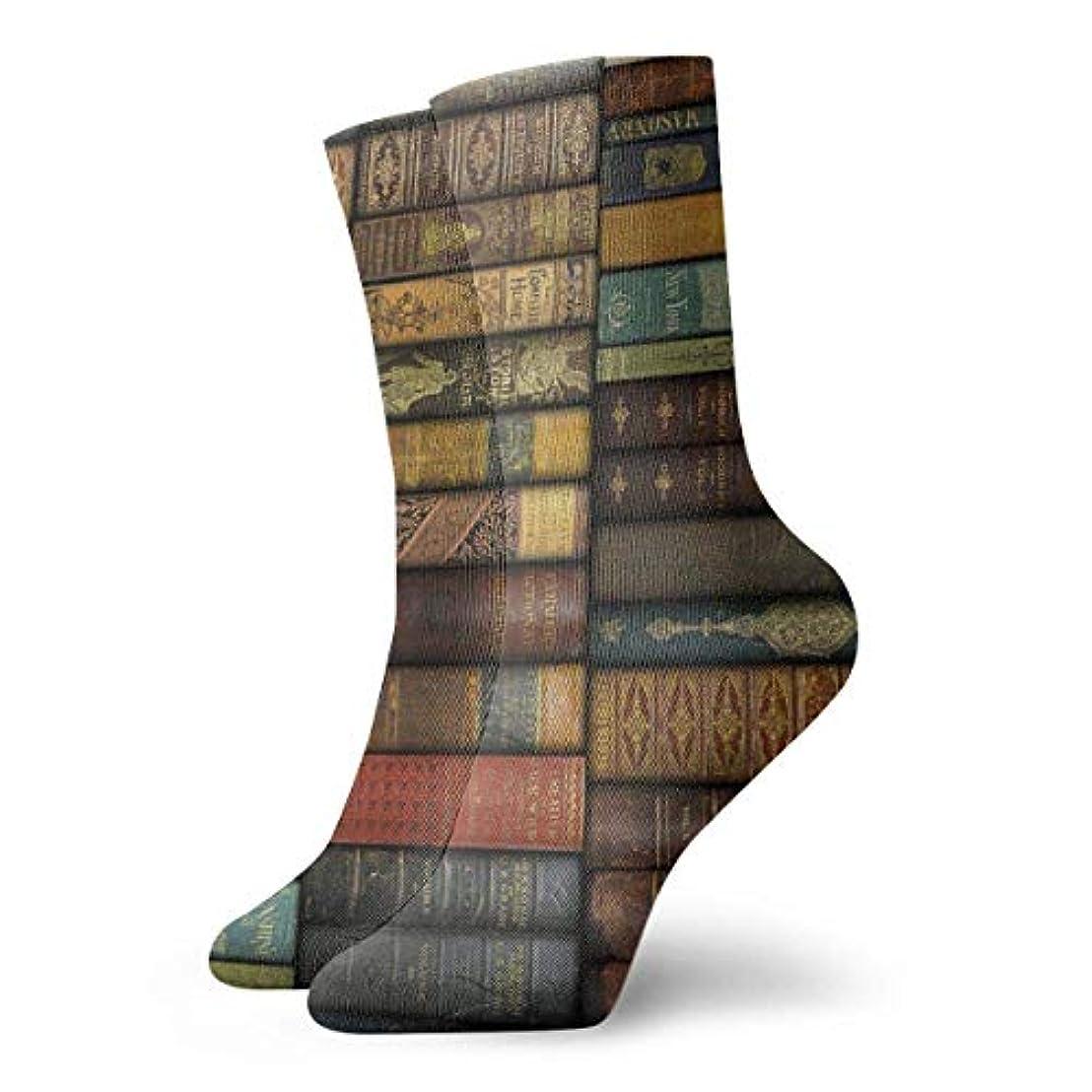 プラグボア伝統的クルクルノベルティデザインクルーソックス、ヴィンテージ書籍、クリスマス休暇クレイジー楽しいカラフルなファンシーソックス、冬暖かいストレッチクルーソックス