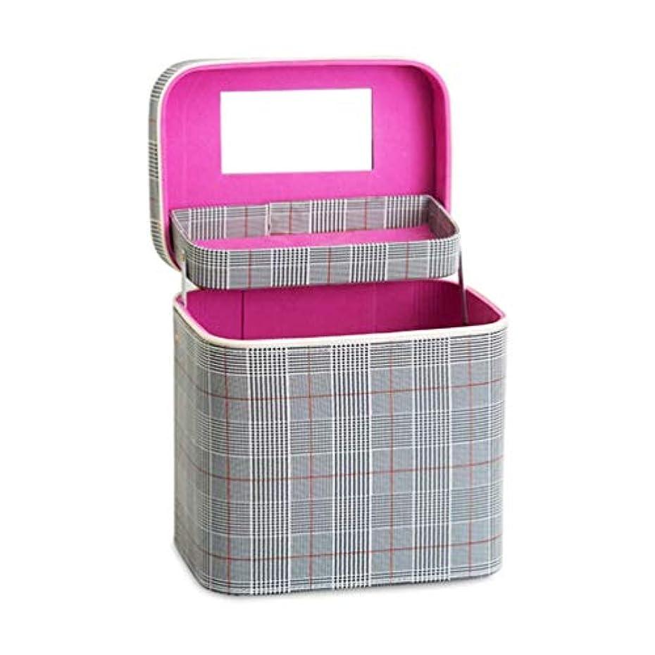 間違いなく楽観税金SZTulip コスメボックス メイクボックス 大容量メイクケース 化粧品収納ケース 小物入れ 鏡付き 化粧箱 (グレー+レッドチェック)