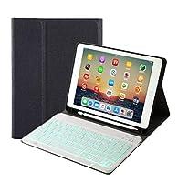 7色 バックライト ペンホルダー付き iPad 9.7 インチ iPad6 iPad5 iPad Air 2 Pro 9.7 キーボード ケース コンパクト スマート ワイやレス アイパッド 6 5 エア 2 プロ 9.7 bluetooth キーボード付き カバー アップルペンシル収納 (iPad6/iPad5/iPaPro9.7/iPadAir/Air2, 黒+白キーボード)