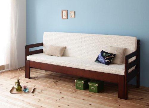 ベッドとソファで1台2役 省スペース!横幅伸縮の天然木すのこソファベッド【ecli】エクリ ソファー (マットレス付き 色:ダークブラウン) tu-25461