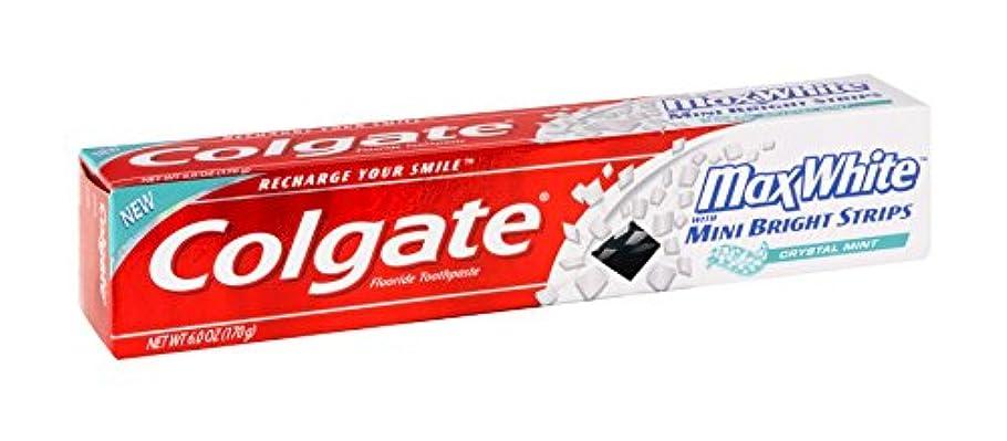 気候インシデント酸度Colgate ミニ明るいとマックスホワイトクリスタルミントハミガキ6オズ(12パック)ストリップ