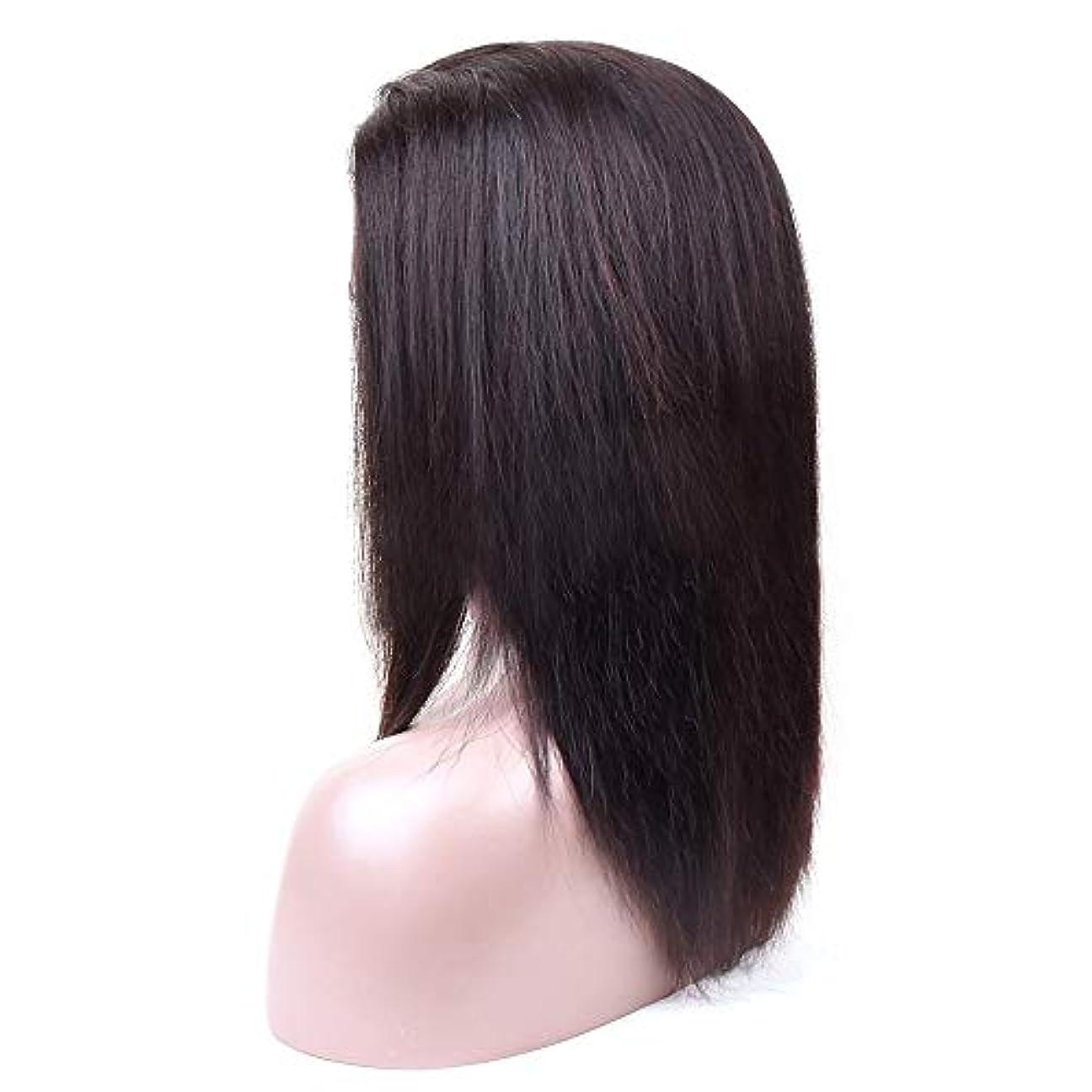 前書き啓発する覗くJULYTER ブラジルのレースの動きかつら人間の髪の毛のグルーレス360レース前頭人間の髪の毛のかつら (色 : 黒, サイズ : 22 inch)