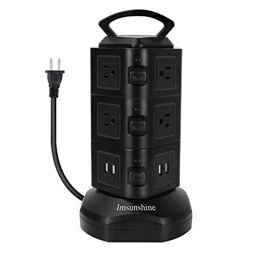 電源タップ タワー式 電源タップ 3層縦コンセント 10個AC電源口(110-250V) 4個USBポート 総電力2500Wまで 2m電源ケーブル 雷ガード 耐熱素材使用 過負荷保護 安全保障 家庭やオフィス用 【3層】