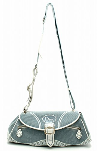 [クリスチャン ディオール] Christian Dior トロッター ショルダーバッグ 斜め掛けショルダー キャンバス ライトブルー 青 ブルー TG044290
