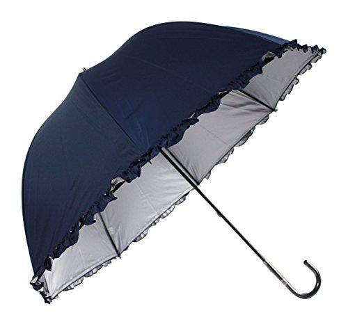 日光を遮断! 晴雨兼用 日傘 かわいいドーム型 生地裏シルバーコーティング フリル付 UVカット 紫外線遮蔽率99% UPF50+ 60cm 手開き傘 (紺)