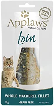 Applaws Whole Mackerel Loin - Natural cat food treat, complementary pet food for adult cats, 30 g, pack of 18