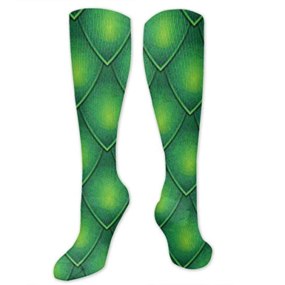 ファイナンスフレキシブル慣れている靴下,ストッキング,野生のジョーカー,実際,秋の本質,冬必須,サマーウェア&RBXAA Dragon Scale - Green Socks Women's Winter Cotton Long Tube Socks Knee...