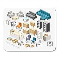"""マウスパッドボックスオフィス家具等尺性テーブルルームチェアキャビネットソファプランマウスパッド9.5"""" X 7.9""""ノートブック、デスクトップコンピューター、マウスマット、オフィス用品用"""