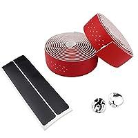 滑りやすい 2PCS EVAロードバイクハンドルバーテープラップ 車用保護バンド (色 : 赤)