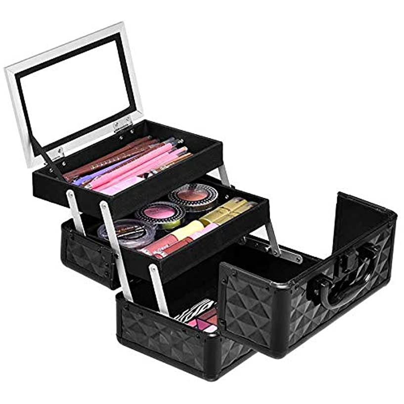 オール母音経由でCostway コスメボックス メイクボックス 鏡付き 大容量 持ち運び 化粧品収納ボックス プロ用 化粧箱 コスメ収納ボックス ブラック