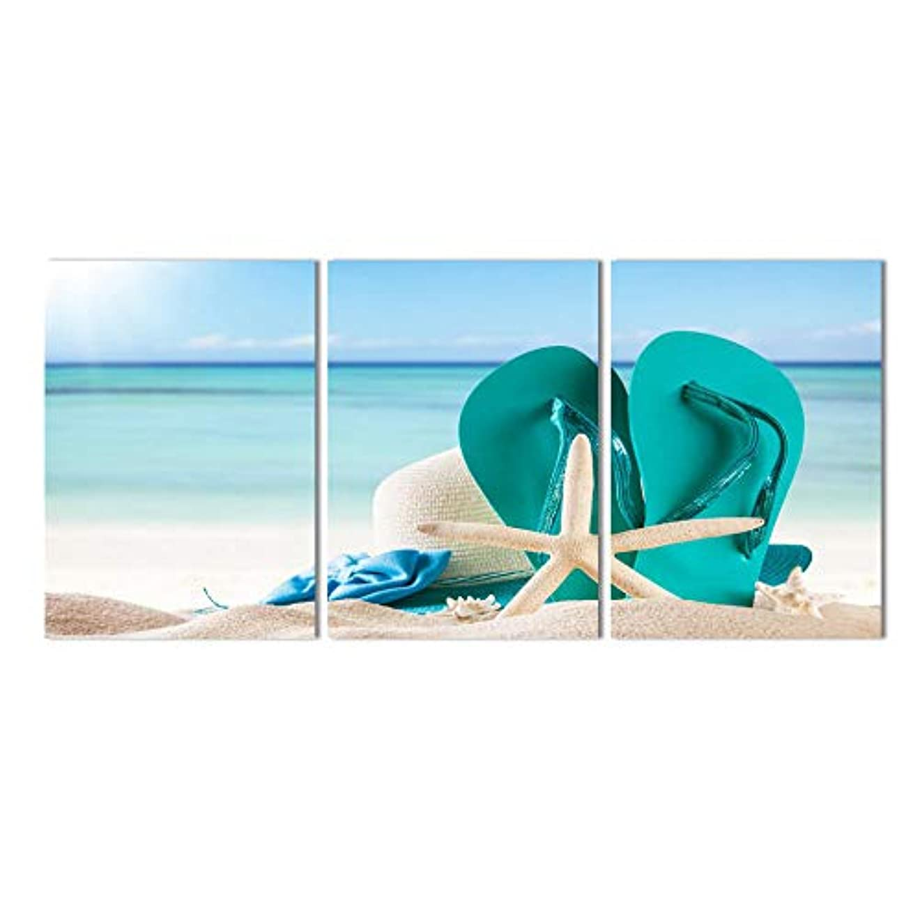 扇動水没そばに現代の絵画キャンバスホームデコレーションビーチヒトデスリッパポスターリビングルームの壁アート写真hdプリント50×70cmx3個なしフレーム