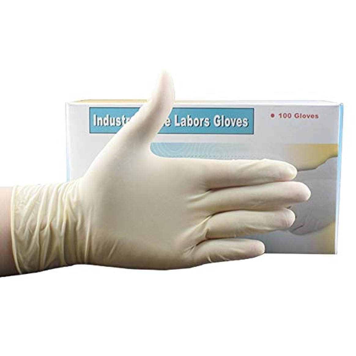 使い捨て手袋 使い捨て手袋、ゴム手袋滑り止め表面肥厚使い捨て手袋食品グレード手袋、ラテックスゴムフリー、100個 ニトリルゴム手袋 (Color : Beige, Size : S)