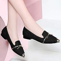 ASxinZ 春と夏の新しい尖った四季フラットシューズ快適な妊娠中の女性の靴秋のスクープシューズシングルシューズ女性の靴,36,Bブラック