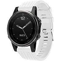 vesniba交換用シリカゲルソフトクイックリリースキットバンドストラップfor Garmin Fenix 5s GPS Watch 225MM ホワイト
