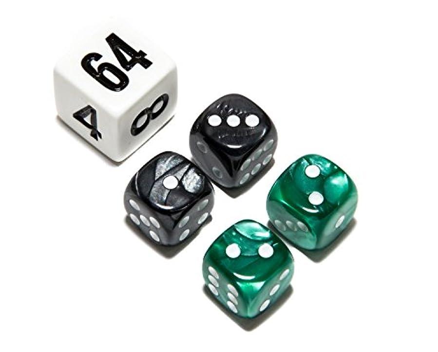肩をすくめる本部物理Bello Games Deluxe Marbleized Dice Sets-Green/Black 1.3cm