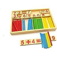 幼児期のゲーム パズル木製計算フレーム算術番号カウント数(カラフル)