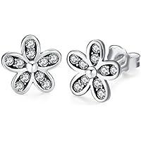 Twenty Plus Daisy Cherry Blossom Drop Earrings Mixed Enamels & Clear CZ Flower Stud Earrings Gifts